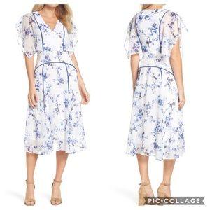 Floral Flutter Sleeve Midi Dress